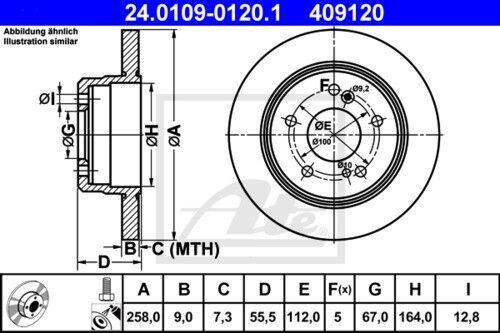 UAT Disques De Frein Garnitures Arrière ø258 Mercedes-Benz berline coupe 3883153