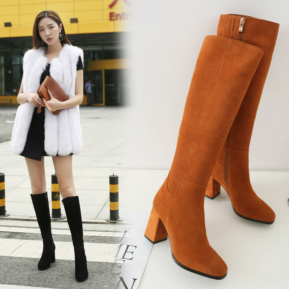 femmes Chuky High heels Gothic chaussures Gladiator Suede Zipper Knee High bottes Sexy