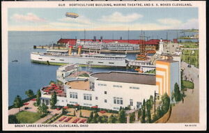 CLEVELAND-OH-OHIO-Marine-Theatre-SS-Moses-Horticulture-Bldg-Vtg-Expo-Postcard-PC