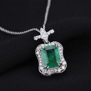 Damen-Halskette-echt-Silber-925-Smaragd-Edelstein-Kette-Silber-Anhaenger-Geschenk