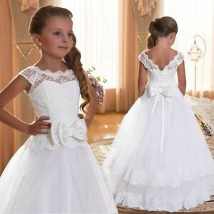 New Flower Girl Dress Communion Party Bridesmaid Gown Princess Birthday Pageant
