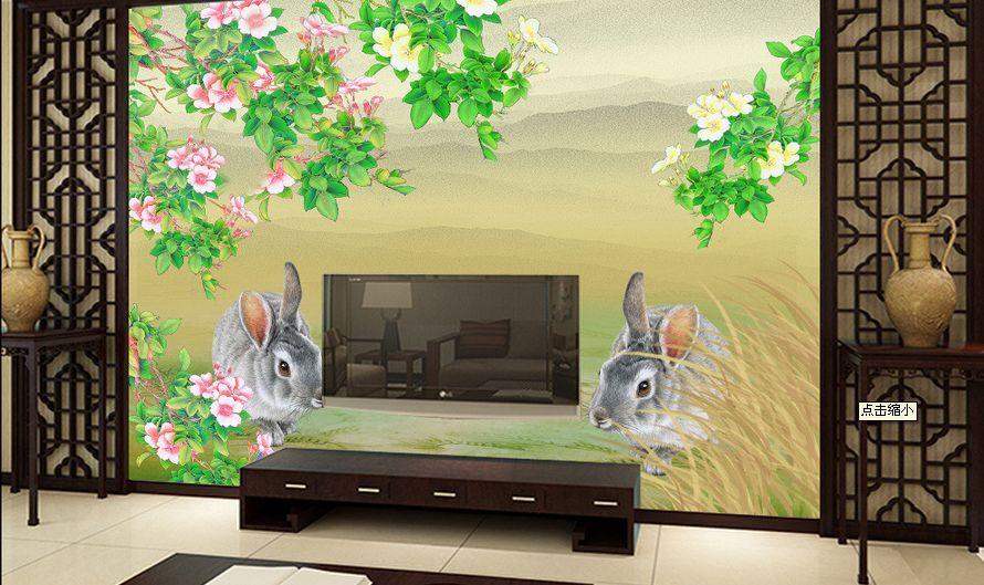 3D Zwei nette Kaninchen 98 Fototapeten Wandbild Fototapete BildTapete Familie DE