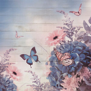 Butterflies and Flowers on Wooden Board Wedding Baby Photography Background Custom Photography Studio Photography Background