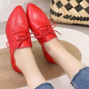 Womens-Genuine-Leather-Pointy-Toe-Flats-Slip-On-Oxfords-Ankle-Boots-Loafer-Shoes
