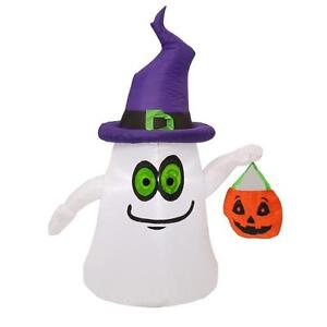 New 5 ft. Inflatable Lighted Ghost with Witch Hat Halloween Airblown Yard Decor