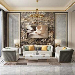 Luxus Leder Textil Couch Polster Sitz 3+2 Set Wohnzimmer ...
