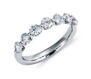 1-00-CT-VS2-corte-redondo-G-natural-Diamante-Anillo-de-la-eternidad-en-platino-950