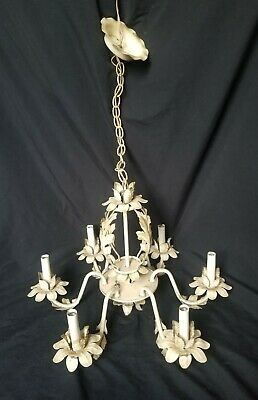 Vintage Brass Shabby Painted White Set of 5 Chandelier Arm Part Salvage Country