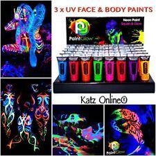 UV Glow Neon Face & Body Paint 3 x 10ml SET Random 3 Fluorescent Halloween Party