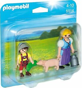 Playmobil-5514-Duo-Pack-Campesina-con-hijo-y-cerdito-Country-Knights
