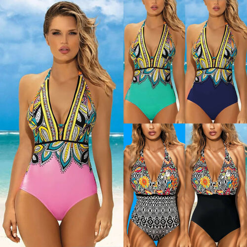 Damen Push Up  Pad Neckholder Badeanzug Einteiler Monokini Bademode Schwimmanzug