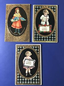 3-Very-Nice-GOLD-Embossed-CHILDREN-Antique-BIRTHDAY-Postcards-For-Collectors