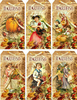 12 FALL COOKING PUMPKINS AUTUMN HANG 10 GIFT TAGS FOR SCRAPBOOK PAGES