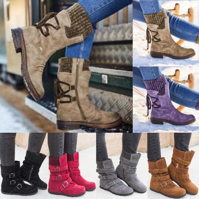Damen Stiefeletten Boots Stiefel Warm Gefütterte Winterschuhe Schuhe Warmfutter