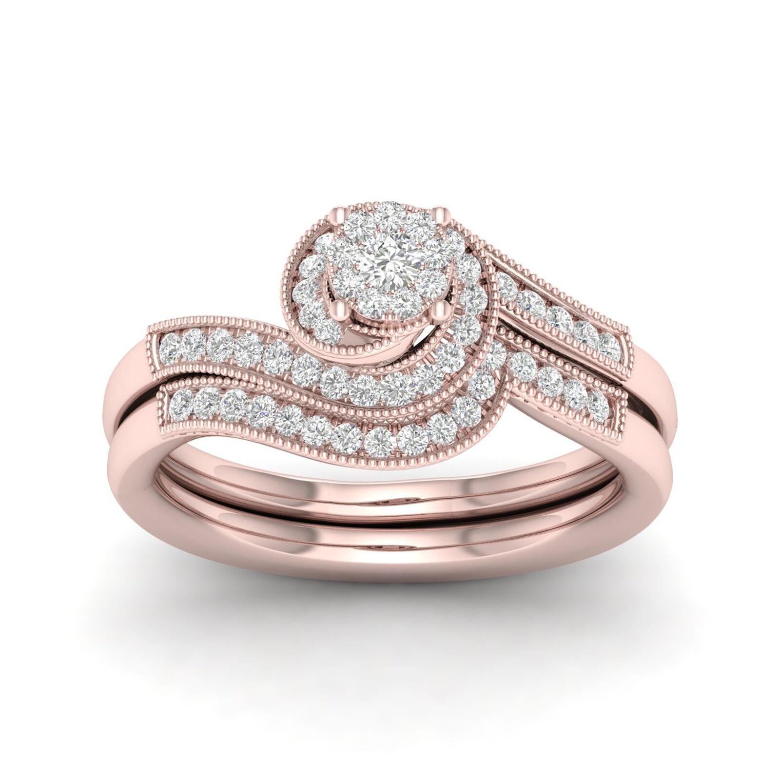 IGI Certified 10k pink gold 1 3ct TDW. Diamond Halo Bridal Ring