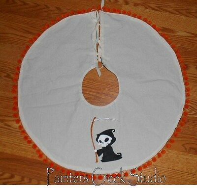 "LIL DEATH Embroidered Tree Skirt,Lamp Skirt 25""dia,Halloween,Prim,Grim Reaper"