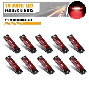 """10 Pack Red 6-LED Side Marker Lights 5"""" Truck Trailer Sealed Clearance Light"""