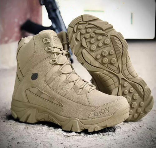 Men's Quality Army Combat Tactical Security Military Police Khaki  Sand Boots