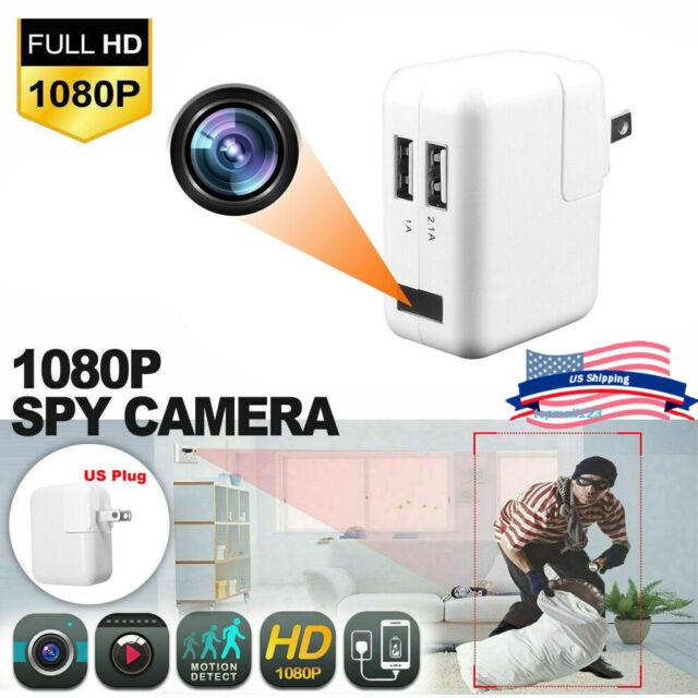 Full HD 1080P Wall Charger Spy Hidden Camera Mini WiFi Motion 2USB Power Adapter