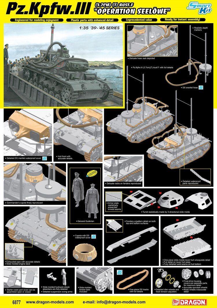 Dragon 6877  pz. Kpfw. III (3.7cm) (t) Ausf. Ausf. Ausf. F operación Seelöwe [Magic Track] 8c5c16