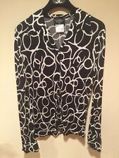 CHANEL Vintage Blouse sz 42 Black White Button Down 98S