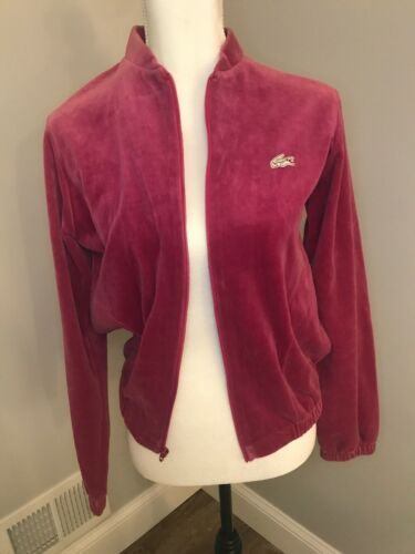 Vintage 70s Lacoste Velour Zip Up Jacket Sweater W