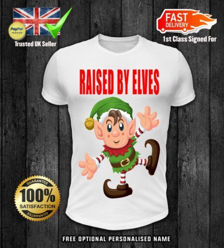Raised By Elves Kids girls boys t shirt xmas christmas children