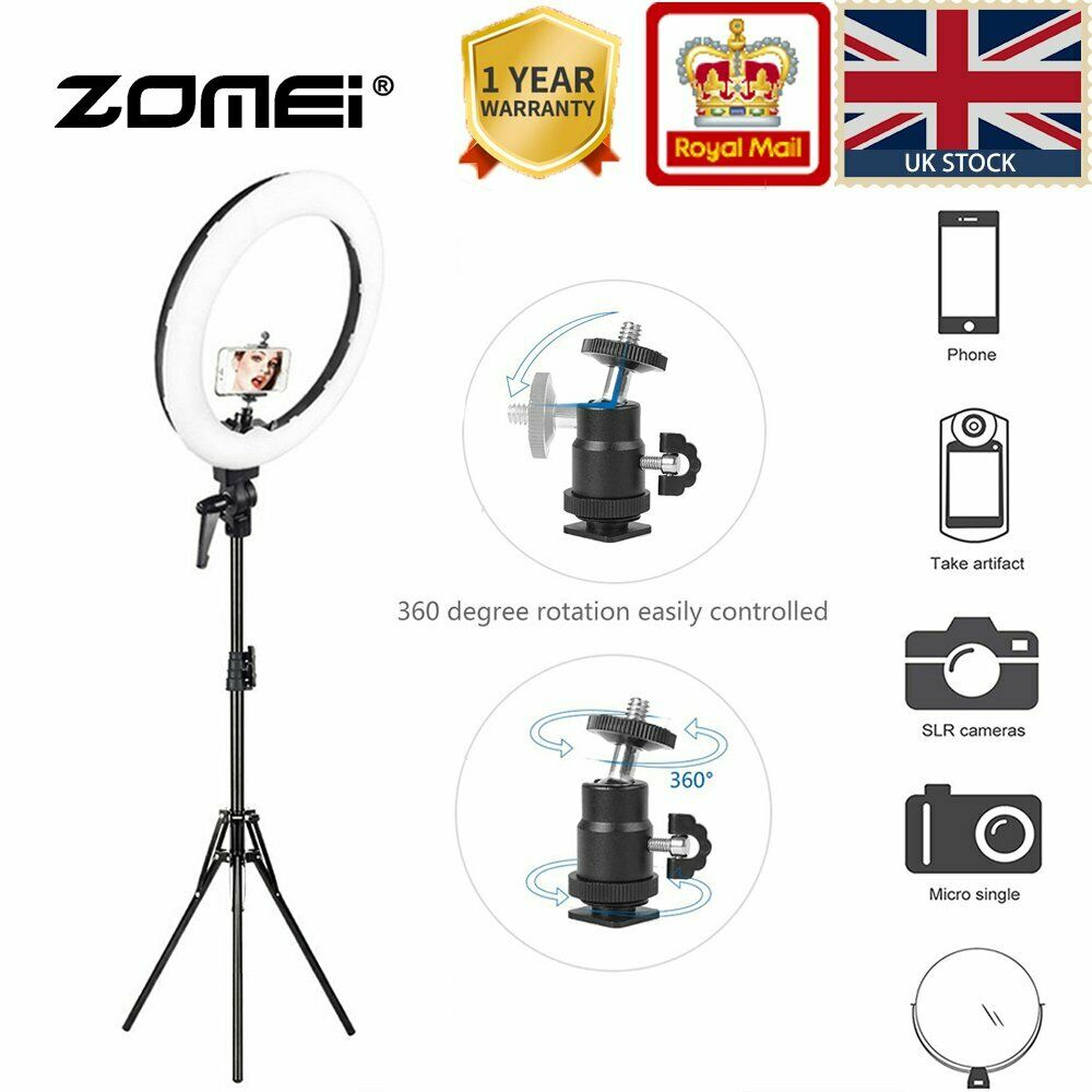 Zomei LED Ring Light 18'' 55W 5500K Lighting Kit with Tripod and Phone Adapter