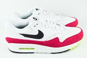 Nike-Air-Max-1-Mens-Size-9-5-Running-Shoes-Rush-Pink-Volt-White-AH8145-111