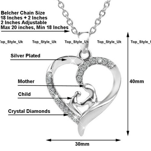 Crystal Silver Jewellery Mother Daughter Gifts for Her Christmas Birthday Mum S1