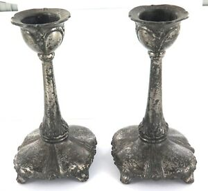 MATCHING-PAIR-ANTIQUE-JENNINGS-BROS-USA-PEWTER-CANDLE-STICK-HOLDERS
