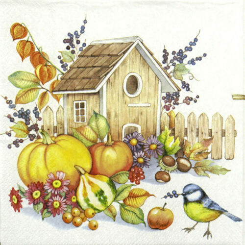 Papel 4x Servilletas Para Decoupage otoño Birdhouse