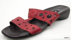 paul green red leather 2 strao slides sandals at 5 5 us womens 8 1 5