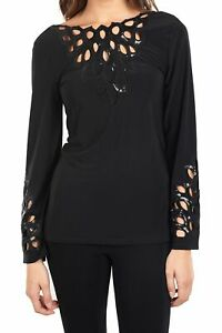 Joseph-Ribkoff-Womens-size-10-Black-Long-Sleeve-Sequin-Cut-out-Blouse-NEW