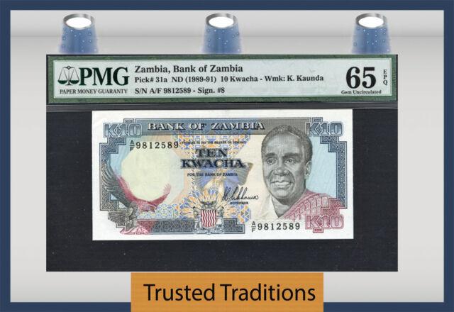 "TT PK 31a 1989-91 ZAMBIA 10 KWACHA ""PRESIDENT K.KAUNDA"" PMG 65 EPQ GEM UNC POP 2"