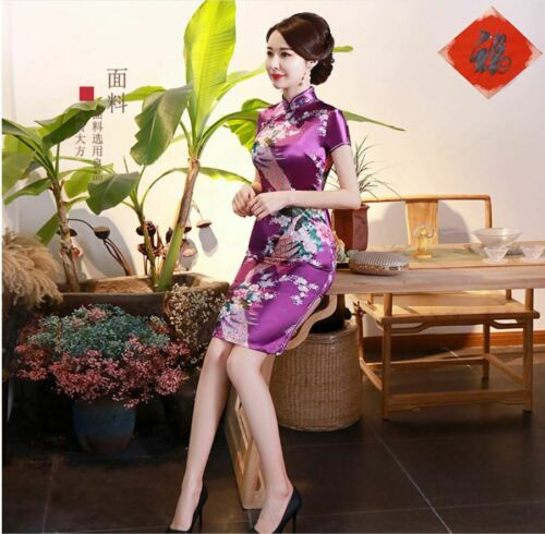 New Luxurious Purple Satin Phoenix Chinese Short Dress Cheongsam Qipao lcdress78