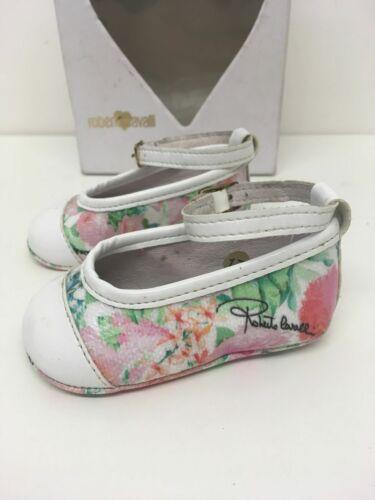 Bebé Niñas Roberto Cavalli Blanco Multi Floral y Correa en el tobillo de cuero zapatos talla 17
