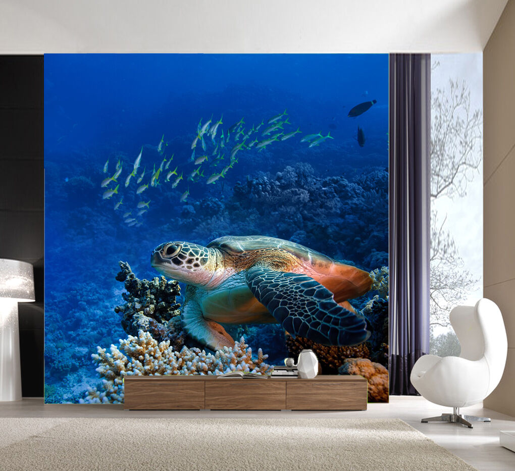 3D Huge turtle Wall Paper Wall Print Decal Wall Deco Indoor Wall Murals