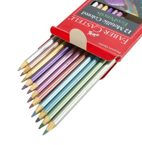 12 Color Box Metallic Colored Pencils Eco-Friendly Adult Coloring Premium Art