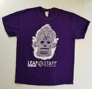 Leaf-Music-and-Arts-Festival-L-Large-Staff-T-Shirt-Purple-Skull-New-Orleans