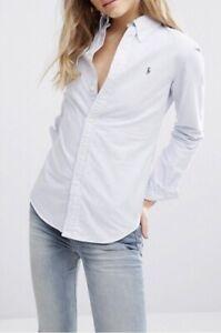 Ralph-Lauren-Femmes-Oxford-Chemise-Custom-fit-bleu-blanc-a-rayures