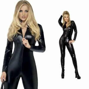 U25064 Catsuit Tuta Cat Woman Effetto PVC WetLook Opaca Nera Con Cerniera Zip