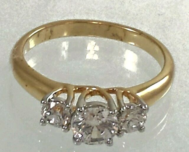 Gold Plated Promise Ring  Engagement Cubic Zirconia size 4,6,7,9,10,11,12 RI