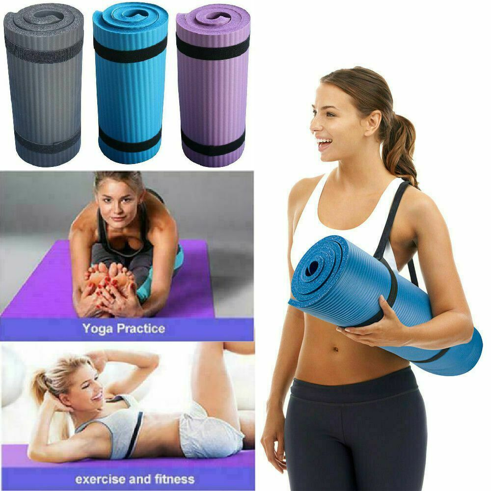 15mm Thick Yoga Mat Exercise Fitness Pilates Camping Gym Med