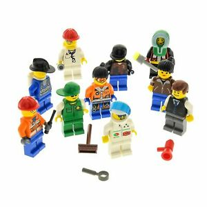 10-x-Lego-System-Minifiguren-Figuren-Zubehoer-Haare-Muetze-zufaellig-bunt-gemischt