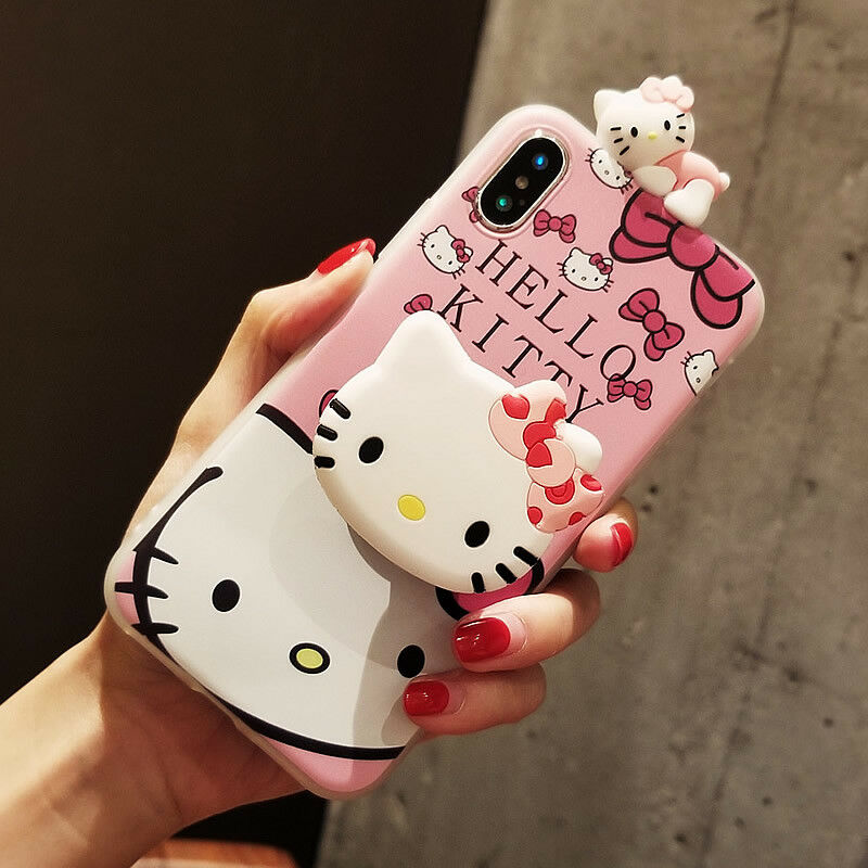 purchase cheap bb499 dad2d CUTE PINK HELLO Kitty Doll Stand Holder Case Cover for iPhone X XR XS Max 6  7 8+