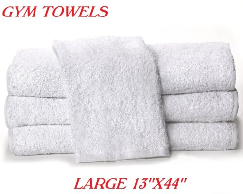 3 new white irregular gym towels 13x44 workout exercise fitness towel cotton