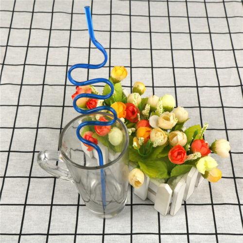 10Pcs Colorful Pailles Crazy Bouclés Boucle Plastique Pailles pour fête Jo