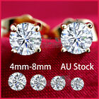 18K YELLOW GOLD GF SIGNITY CT DIAMOND SOLID MENS WOMENS CLAW ROUND STUD EARRINGS
