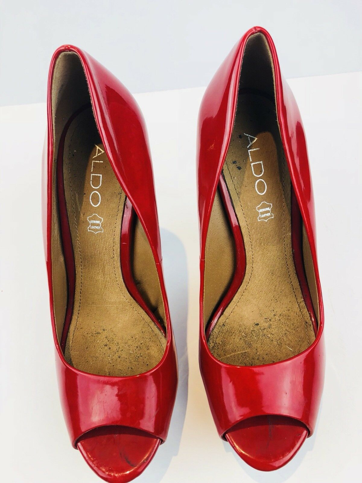 ALDO Red Open Toe High Heel Slip On Platform Pumps shoes Size 9